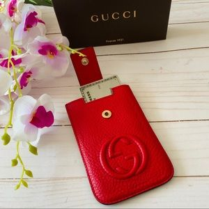 AUTHENTIC GUCCI GG RED Leather card case